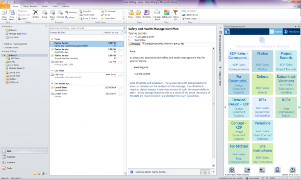 Dropzone panel in outlook