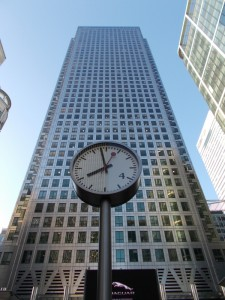 Canary Wharf and clock